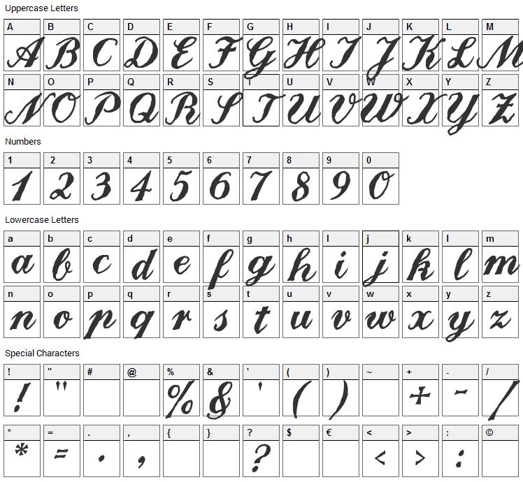 Landliebe Font Character Map