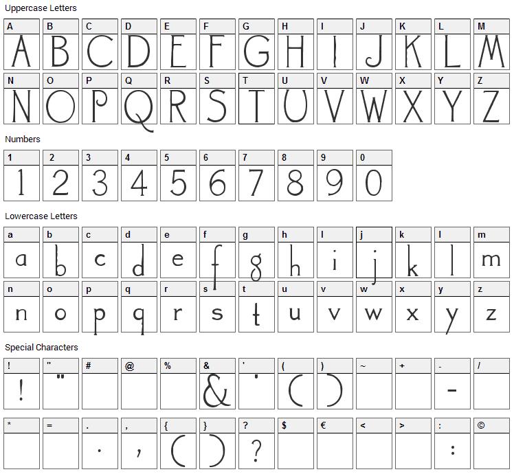 Landsdowne Font Character Map