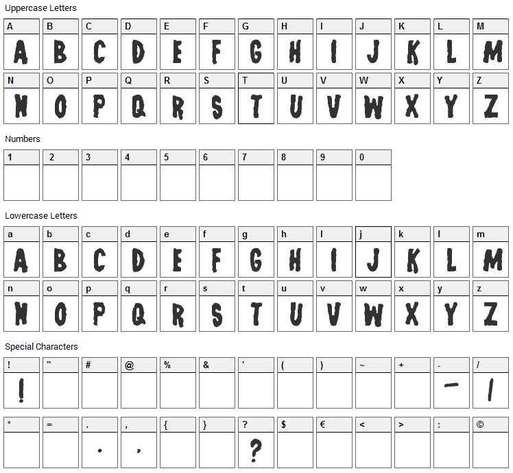 Last Man on Earth Font Character Map