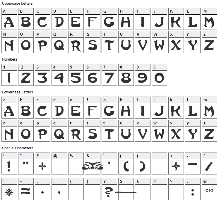 Last Ninja Font Character Map