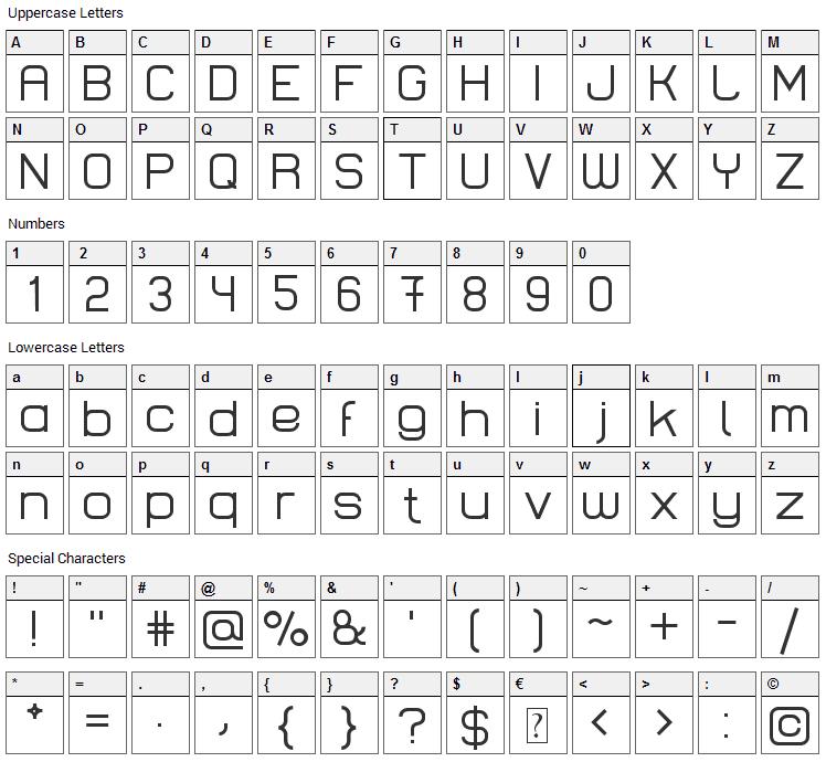 Lastwaerk Font Character Map