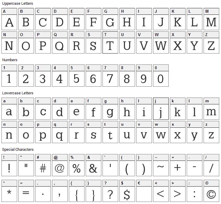 Latinia Font Character Map