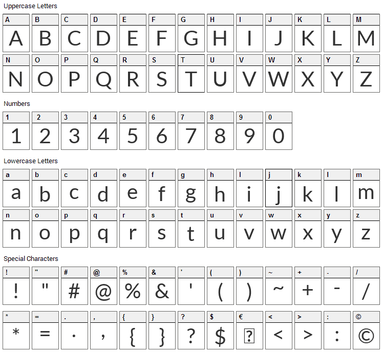 Lato Font Character Map