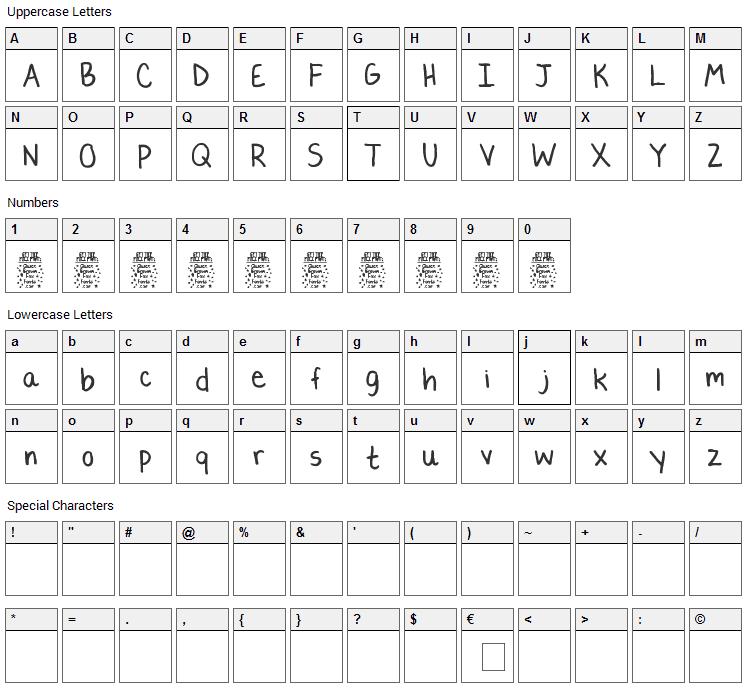 Lauren C. Brown Font Character Map