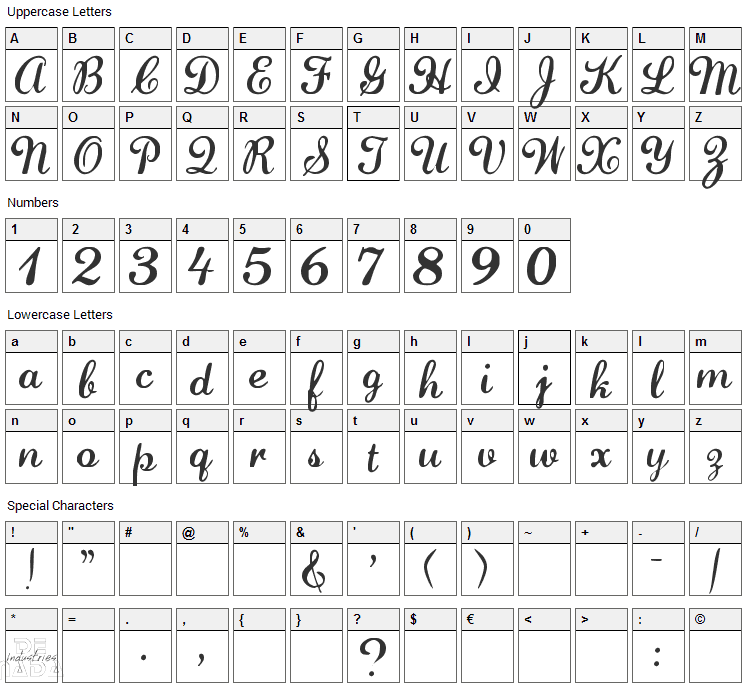 Lauren Script Font Character Map