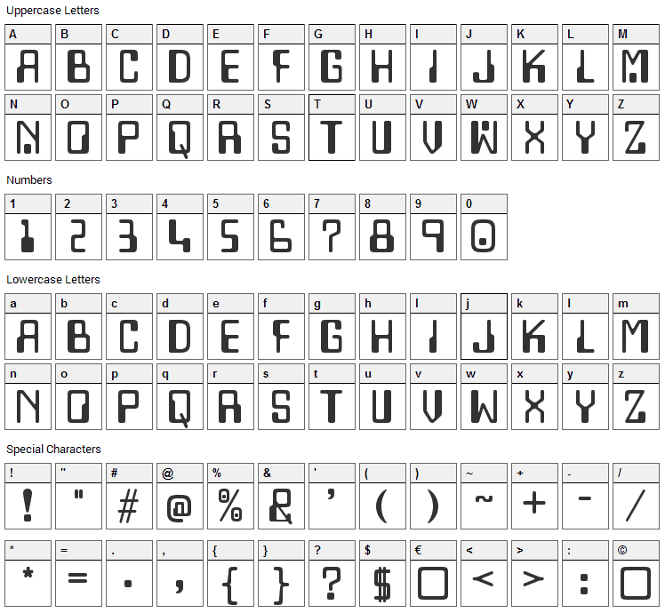 Lazenby Computer Font Character Map