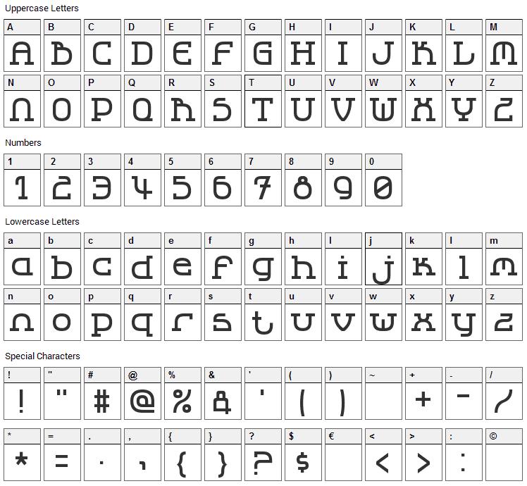 LBC Cool 2 Font Character Map