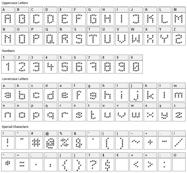 LBC Dots Font Character Map