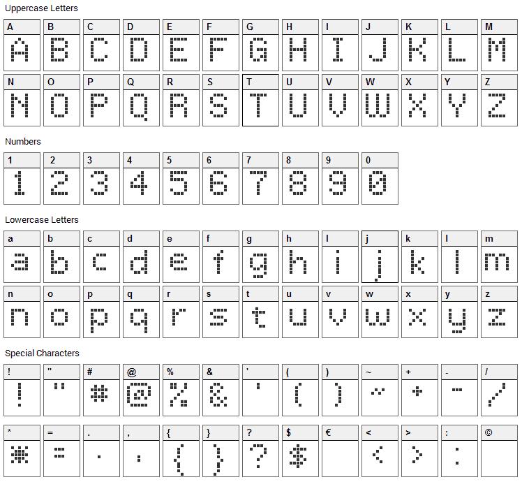 LCD Dot Font Character Map