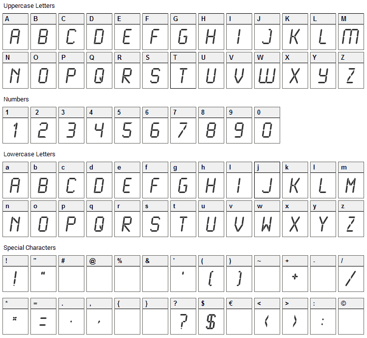 LCD / LCD Mono Font Character Map