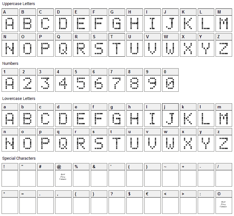 LCD Phone Font Character Map