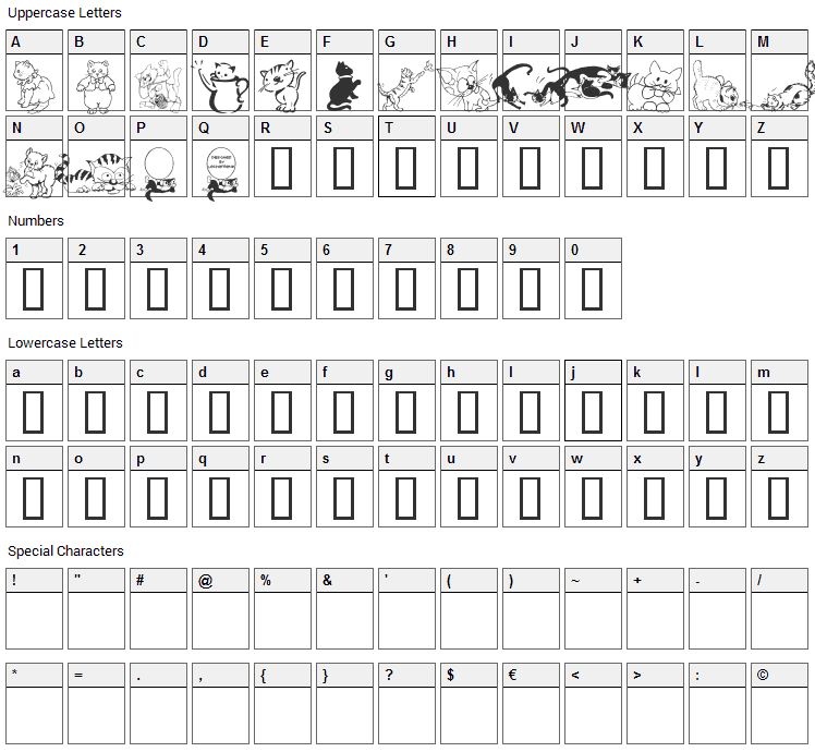 LCR Cats Meow Font Character Map