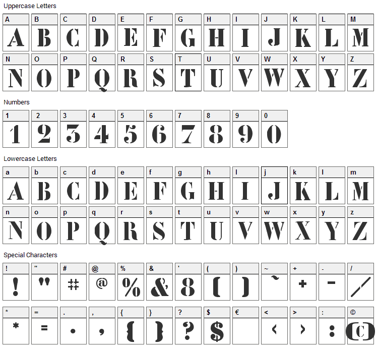 LeArchitect Font Character Map