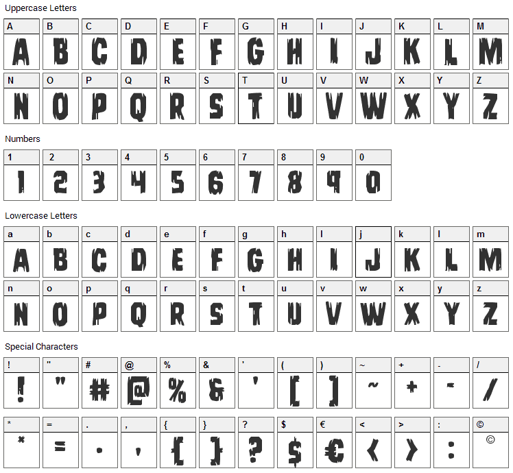 Leatherface Font Character Map