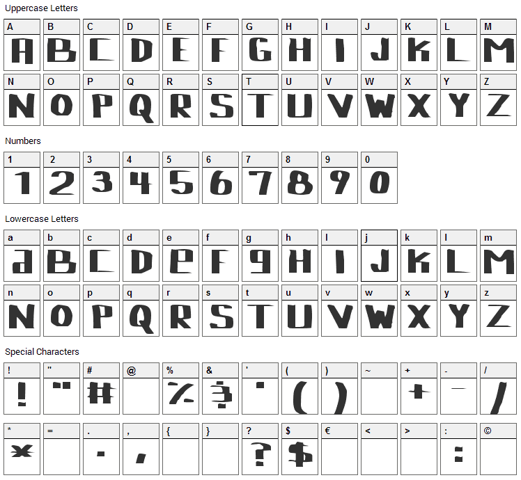 Lebowski Font Character Map