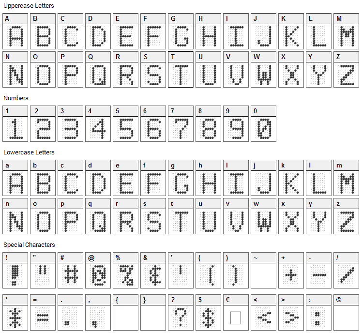 Led Board Font Character Map
