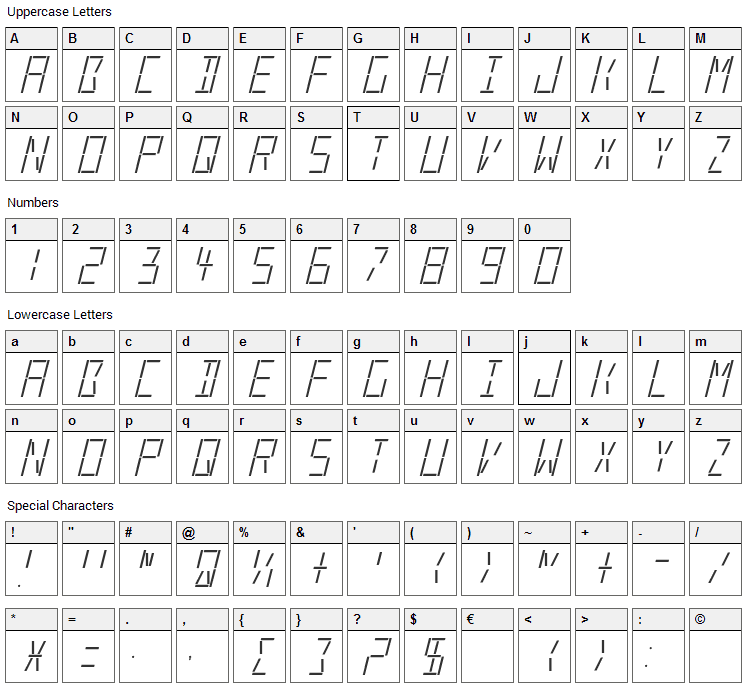 LED Real Font Character Map