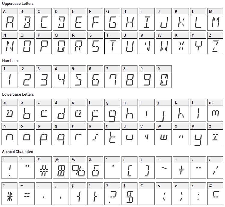LED Sled Font Character Map
