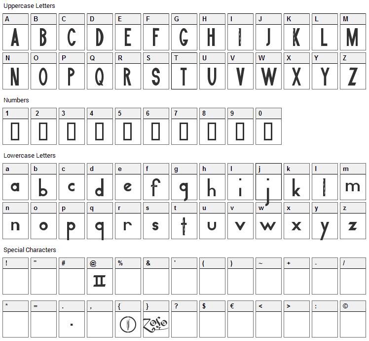 Led Zeppelin II Font Character Map