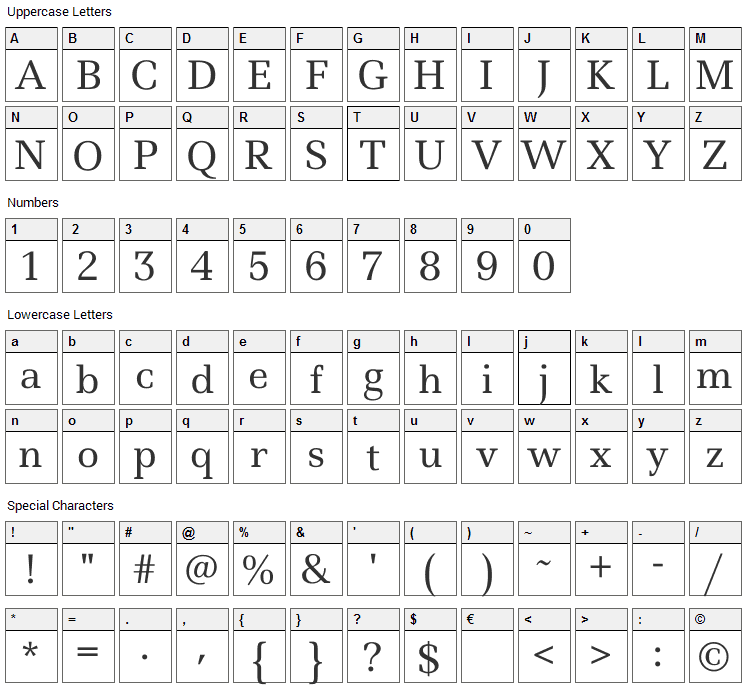 Ledger Font Character Map