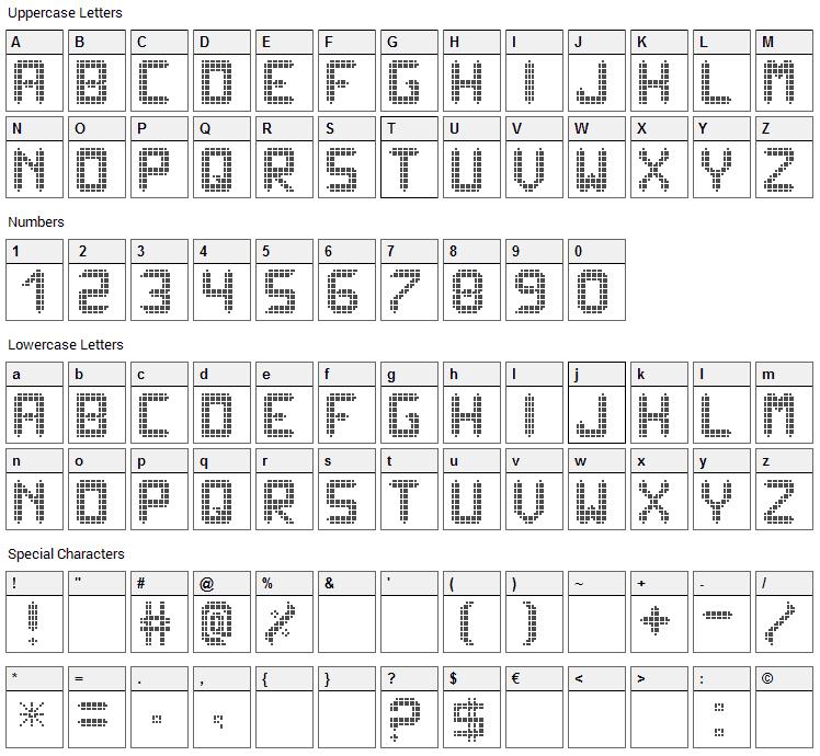 Ledisplayx Font Character Map