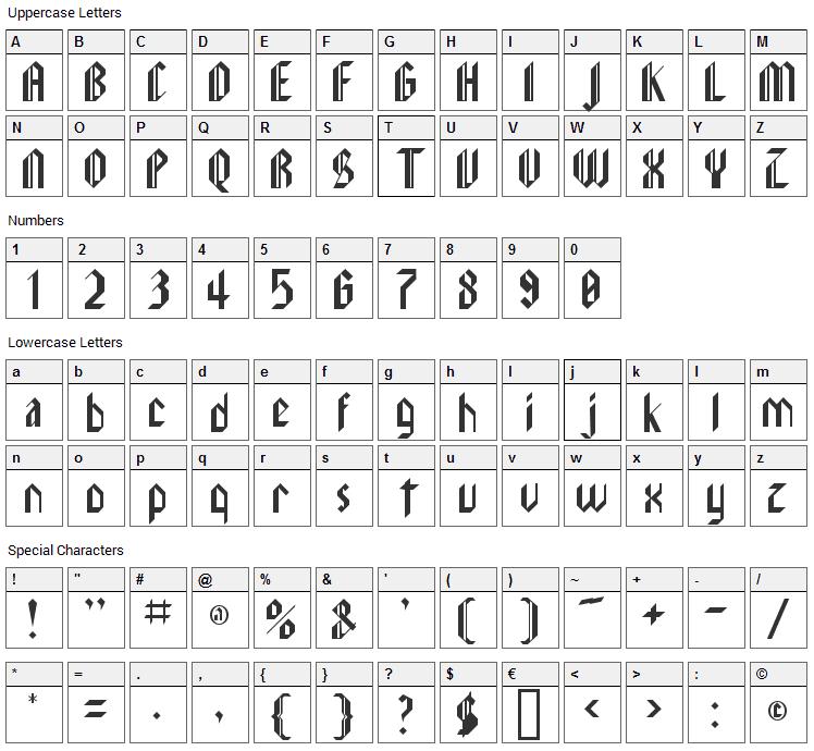 LeeBee Schwarz Font Character Map