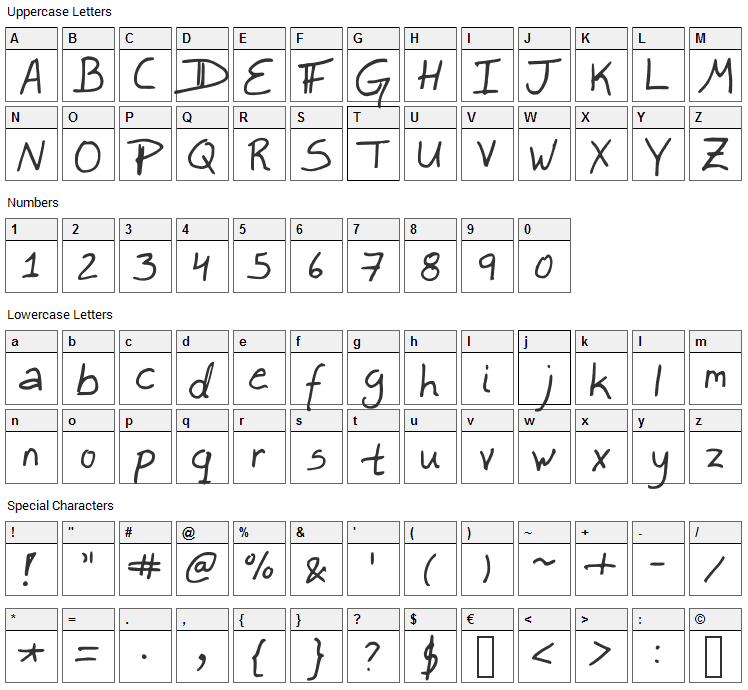 Lefty Dave Font Character Map