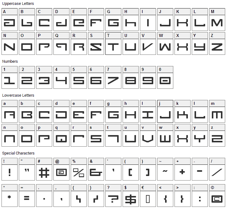 Legion Font Character Map
