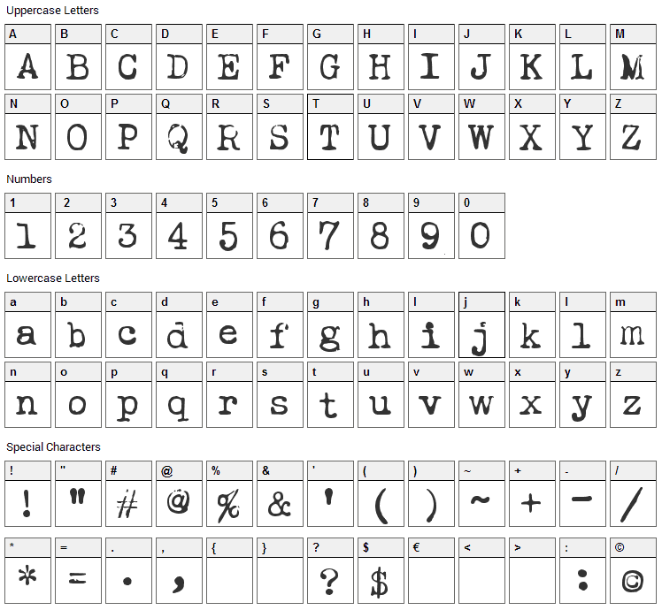 Leicester Font Character Map