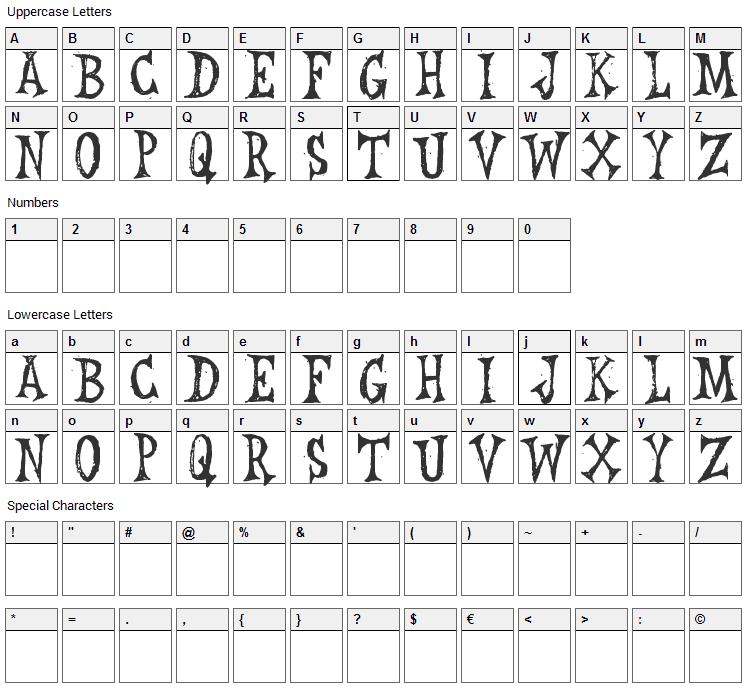 Leichenhaus Font Character Map