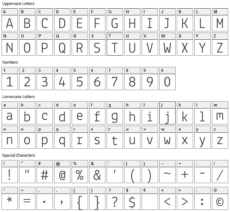 Lekton Font Character Map