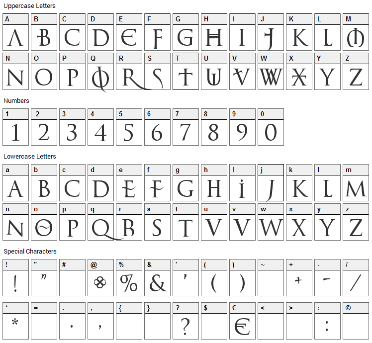 Lelf Noir du Mal Font Character Map