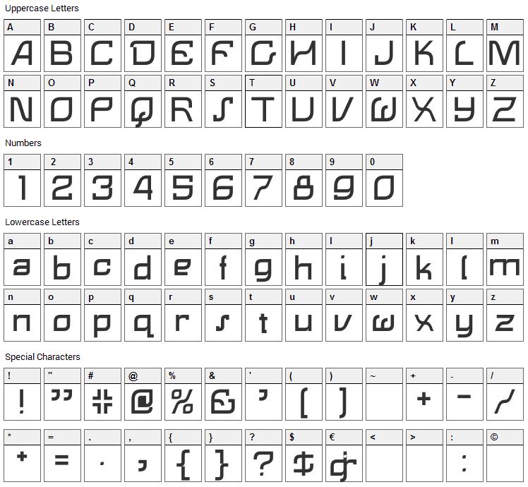 Lemon Font Character Map