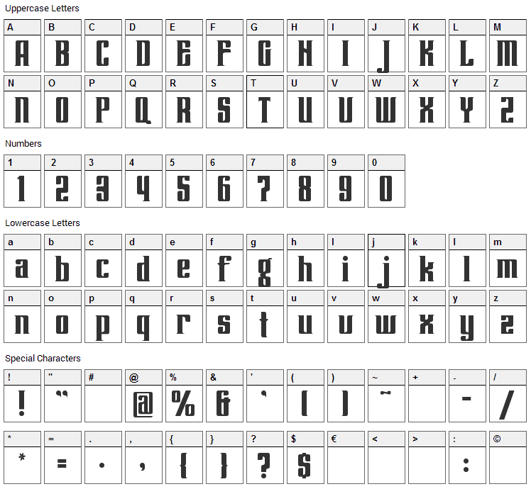 Lenteroos Font Character Map
