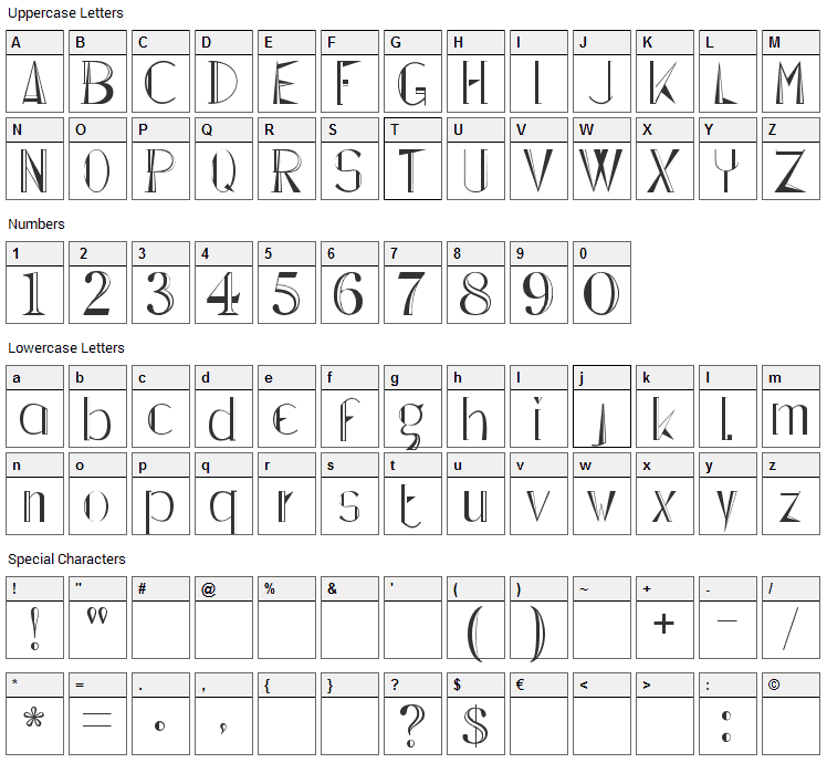 Lepinado Line Font Character Map