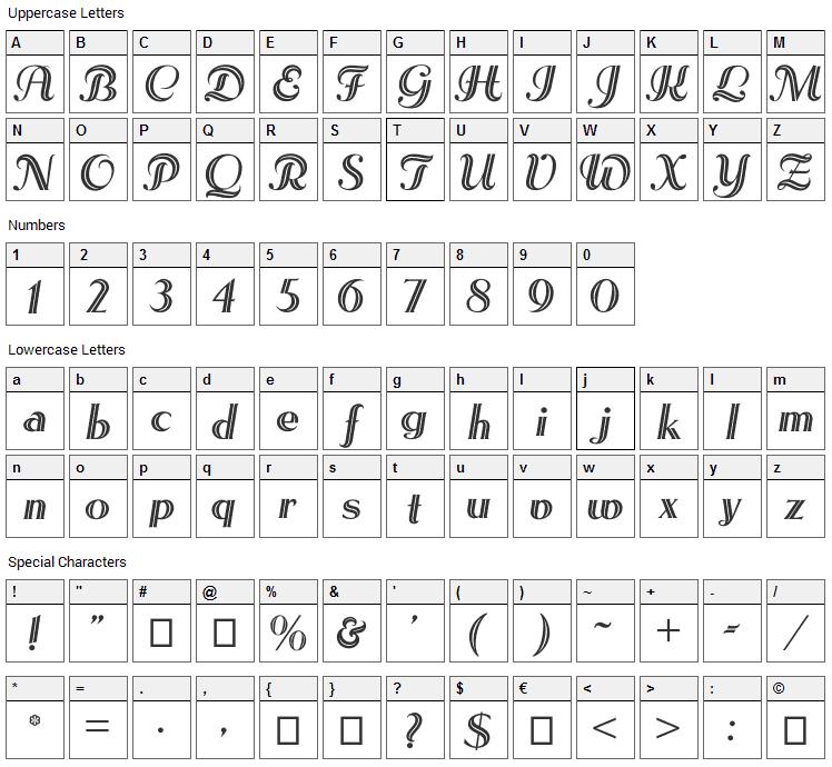 Les Etoiles Font Character Map