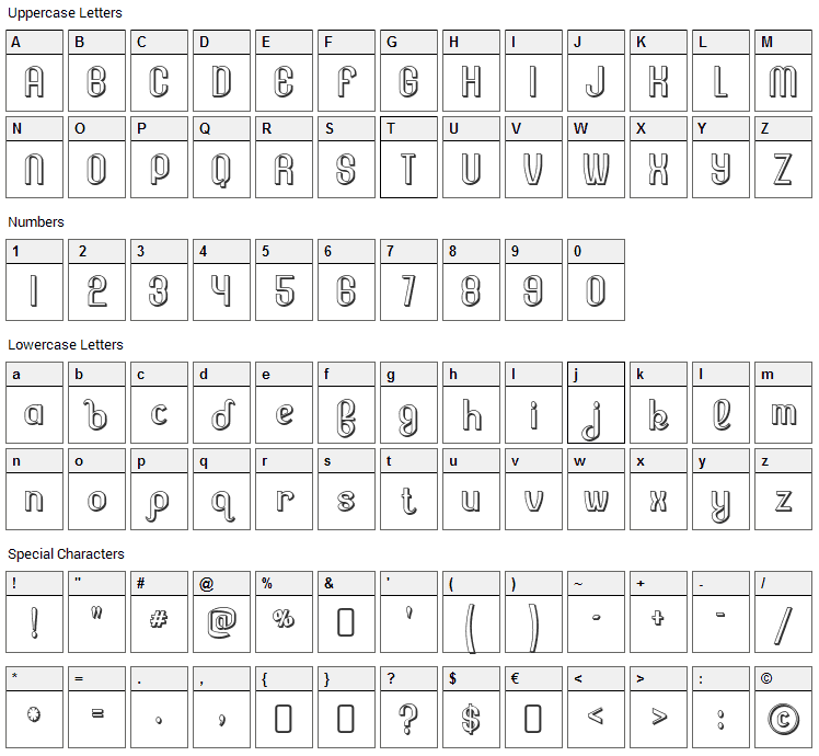 Lesser Concern Font Character Map