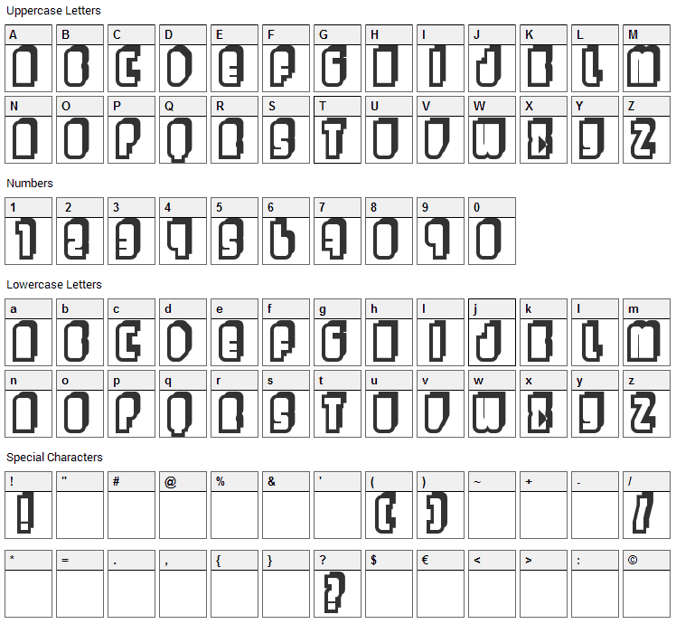 Letters Font Character Map