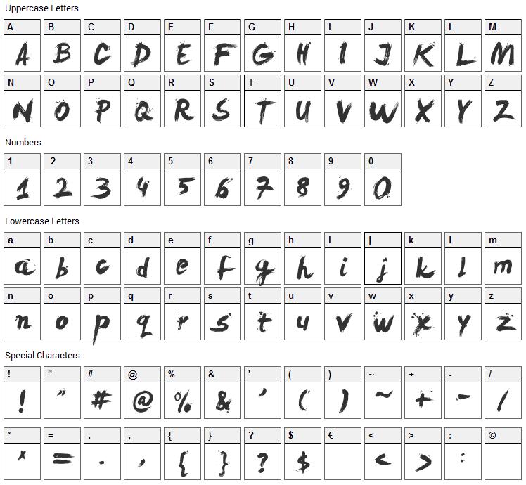 Levi ReBrushed Font Character Map