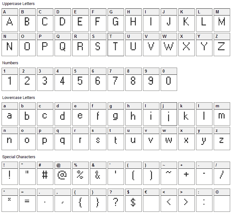 Levi Windows Font Character Map