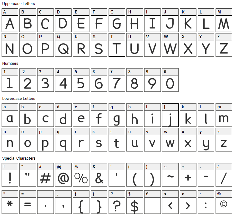 Lexie Readable Font Character Map