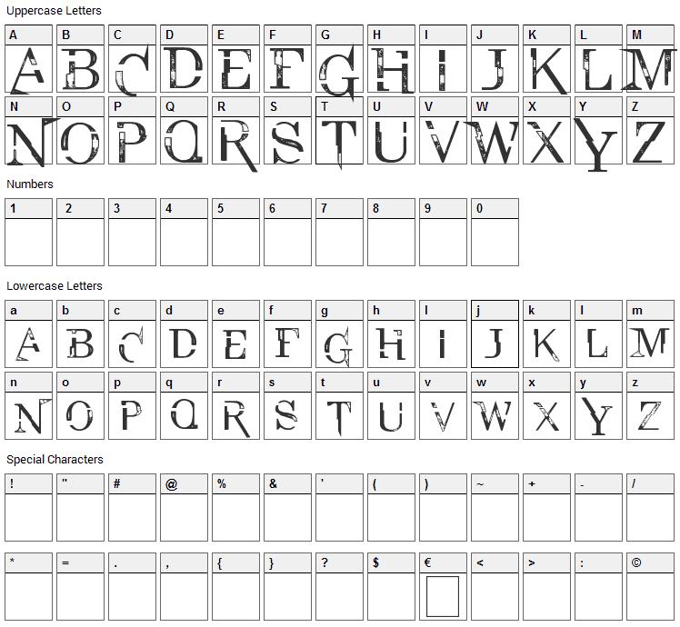 Lexington High Font Character Map