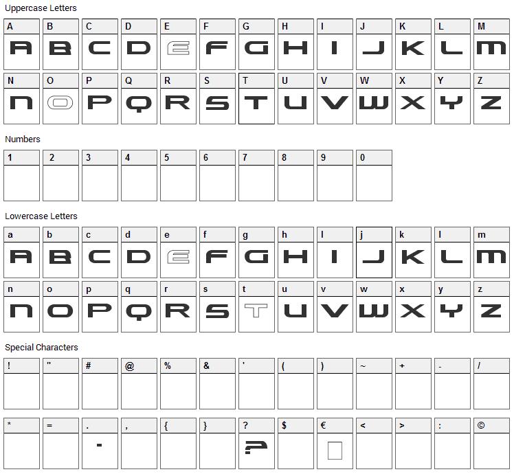 Lexust Font Character Map