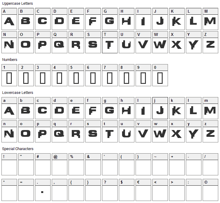 Liandri Beta Font Character Map