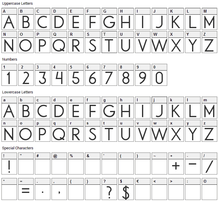 Libby Font Character Map