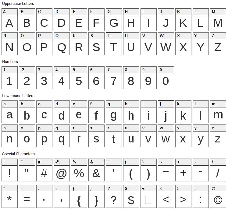 Liberation Sans Font Character Map