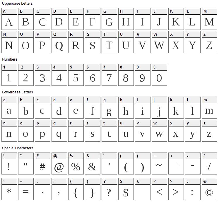 Liberation Serif Font Character Map