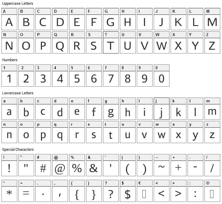 Liberty Sans Font Character Map
