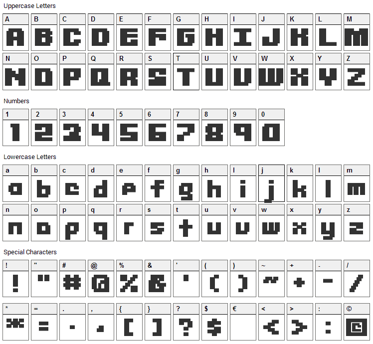 Librium Font Character Map