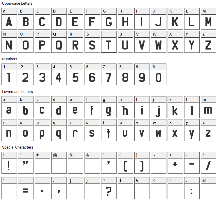 Licenz Plate Font Character Map
